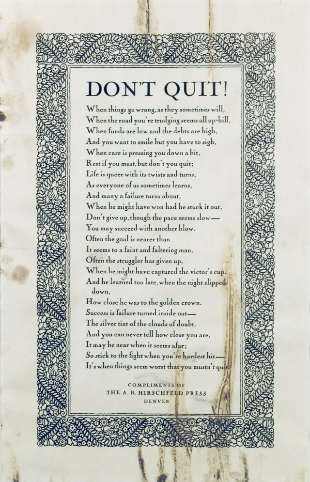 "The water-stained ""Don't Quit"" poem that hung on the wall at Scott's Liquid Gold"